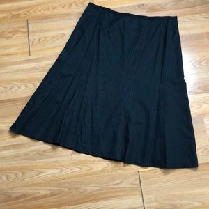 Black pinstripe A-line skirt is fully lined